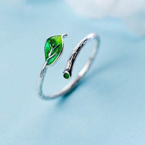 Sterling Silver Leaf Ring - Adjustable Leaf Ring - 925 Green Leaf Ring - Cute Silver Rings - Real Silver Leaf Ring Lux & Rose