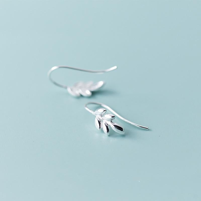 Sterling Silver Leaf Stud Earrings - 925 Stud Earring - 925 Real Silver Earrings - Playful Silver Earrings Lux & Rose