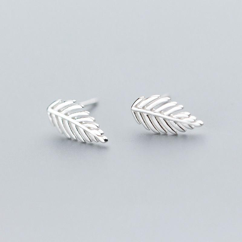 Sterling Silver Leaf Stud Earrings - 925 Stud Earrings - 925 Real Silver Stud Earrings - Tiny Leaf Studs - Leaves Minimalist Earrings Lux & Rose