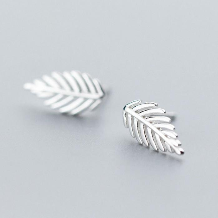 Sterling Silver Leaf Stud Earrings - 925 Stud Earrings - 925 Real Silver Stud Earrings - Tiny Leaf Studs - Leaves Minimalist Earrings Lux & Rose Default Title