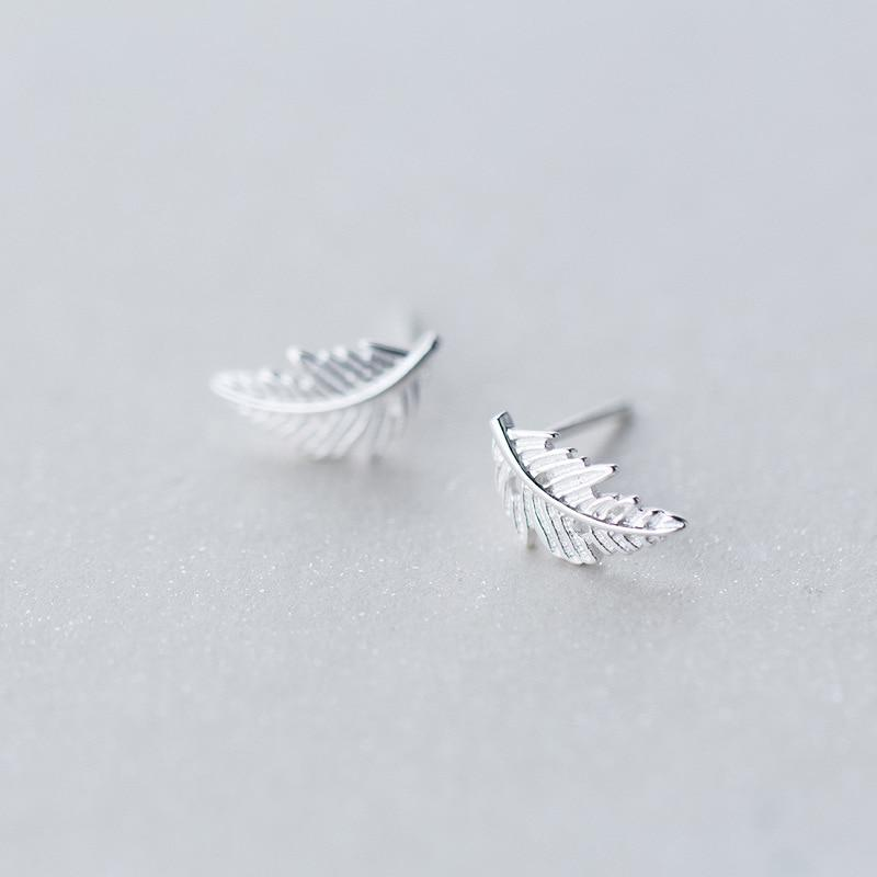 Sterling Silver Leafs Stud Earrings - 925 Stud Earring - 925 Real Silver Earrings - Charming Silver Earrings Lux & Rose