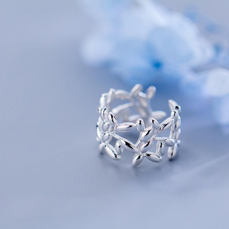 Sterling Silver Leaves Cocktail Ring - 925 Real Silver Leaf Rings - Adjustable Silver Ring - Floral Statement Ring Lux & Rose