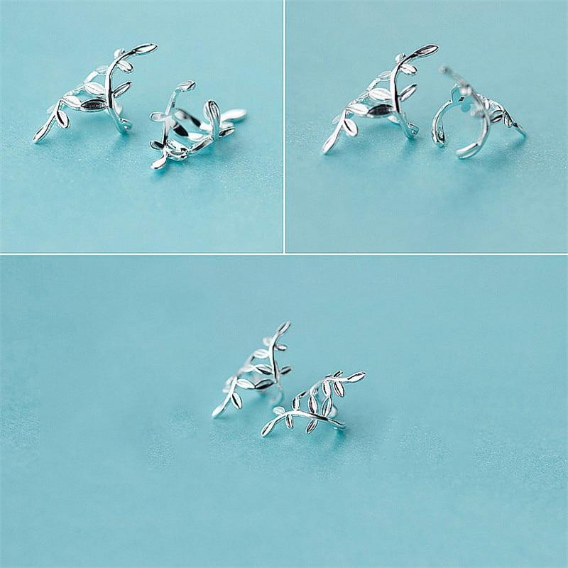 Sterling Silver Leaves Cuff Earrings - 925 Real Silver Earrings - Playful Silver Earrings Lux & Rose