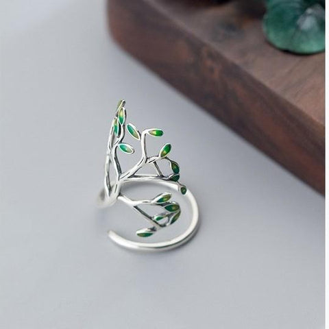 Sterling Silver Leaves Ring - 925 Real Silver Tree Wrap Ring - Adjustable Leaf Cocktail Ring - Floral Statement Ring Lux & Rose