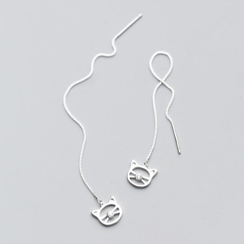 Sterling Silver Long Cat Whiskers Earrings - Long Earrings - 925 Real Silver Earrings - Playful Silver Earrings Lux & Rose