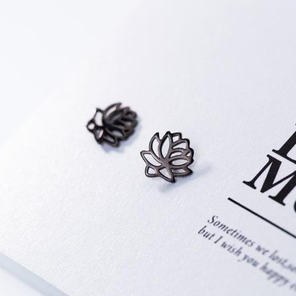 Sterling Silver Lotus Flower Stud Earrings - 925 Real Silver Earrings - 925 Stud Earrings - Playful Silver Earrings - Feminine Silver Earrings Lux & Rose