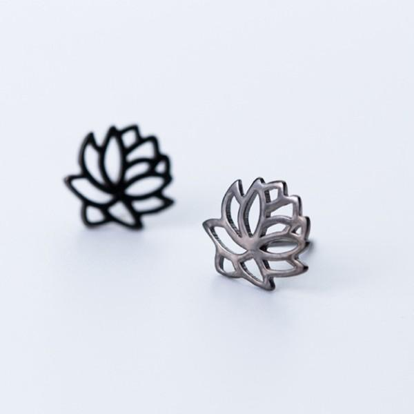 Sterling Silver Lotus Flower Stud Earrings - 925 Real Silver Earrings - 925 Stud Earrings - Playful Silver Earrings - Feminine Silver Earrings Lux & Rose Default Title