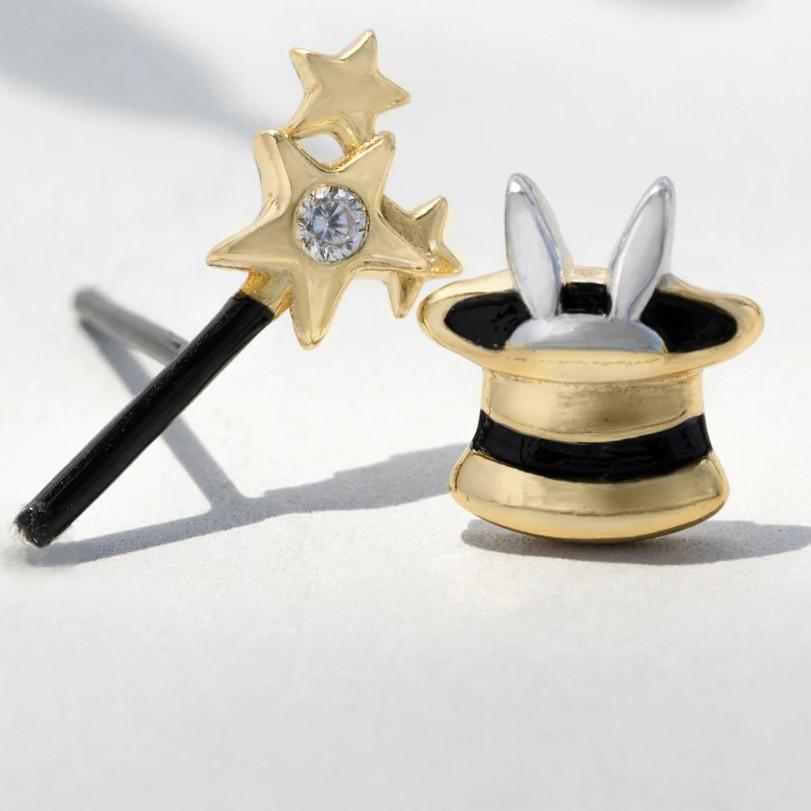 Sterling Silver Magic Hat & Wand Stud Earrings - 925 Rabbit Stud Earrings - 925 Real Silver Earrings - Playful Silver Earrings Lux & Rose