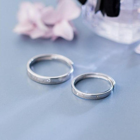 Sterling Silver Measuring Tape Lover Couple Ring Set - 2x Real Silver Couple Ring - Silver Friendship Ring - Adjustable Ring Set Lux & Rose