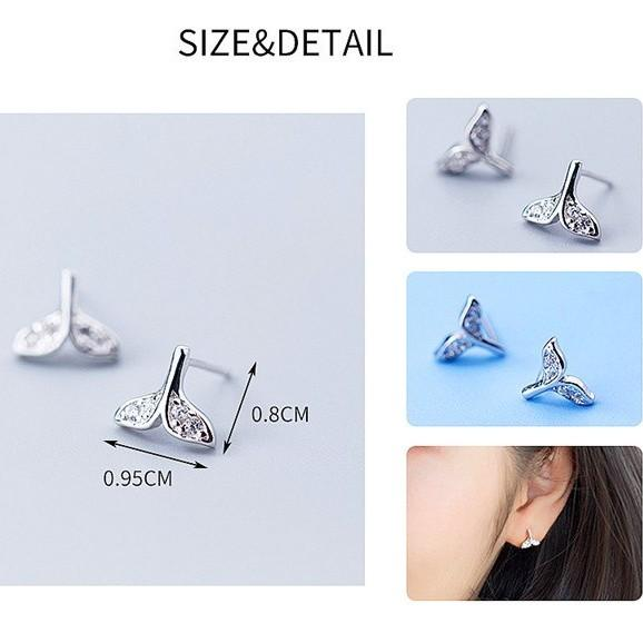 Sterling Silver Mermaid Tail Earrings - 925 Stud Earrings - 925 Real Silver Earrings - Playful Silver Earrings Lux & Rose