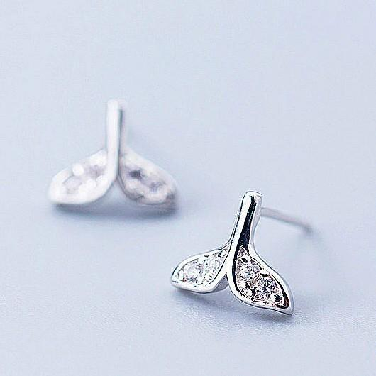 Sterling Silver Mermaid Tail Earrings - 925 Stud Earrings - 925 Real Silver Earrings - Playful Silver Earrings Lux & Rose Default Title