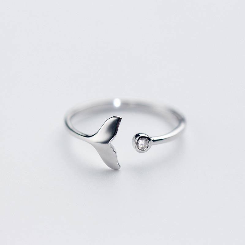 Sterling Silver Mermaid Tail Ring - 925 Real Silver Ring - Classic Silver Ring - Adjustable Cocktail Ring Lux & Rose