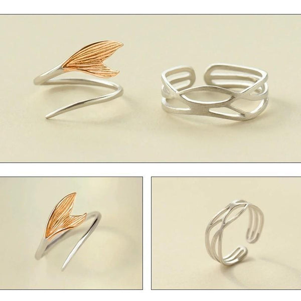 Sterling Silver Mermaid Wave Rings - 925 Real Silver Rings - Adjustable Cocktail Rings Lux & Rose
