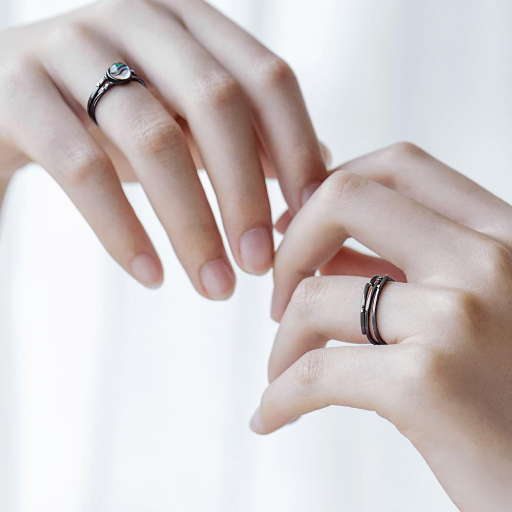 Sterling Silver Milky Galaxy Rings - 925 Real Silver Rings - Classic Silver Rings - Adjustable Cocktail Rings Lux & Rose