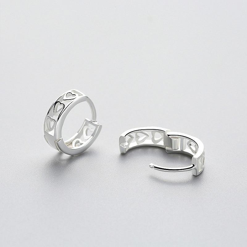 Sterling Silver Minimalist Hoop Earrings - Heart Hoop Earrings - 925 Real Silver Earrings - Playful Silver Earrings Lux & Rose