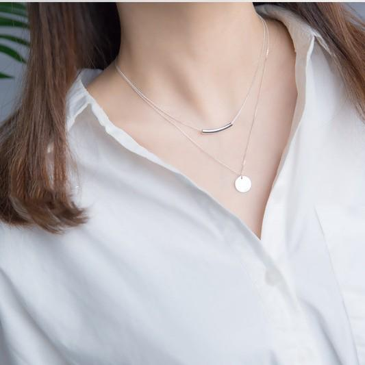 Sterling Silver Minimalist Layer Disc Necklaces - 925 Real Silver Double Necklace - Classic Silver Tube Necklace Lux & Rose