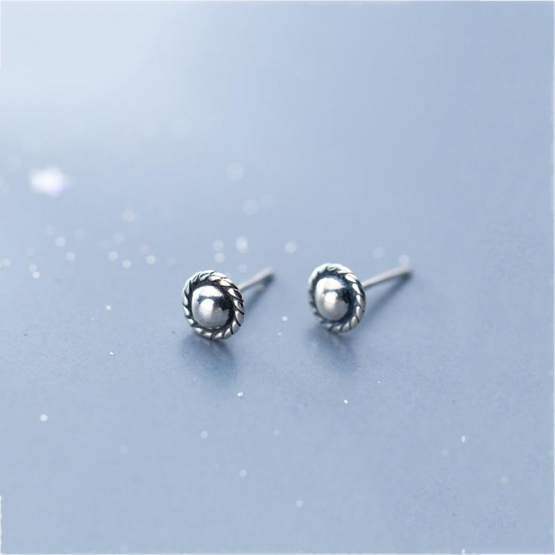 Sterling Silver Minimalist Round Earrings - 925 Stud Earrings - 925 Real Silver Earrings - Playful Silver Earrings Lux & Rose