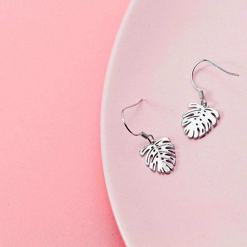 Sterling Silver Monstera Earrings - 925 Real Silver Earrings - Playful Silver Earrings Lux & Rose