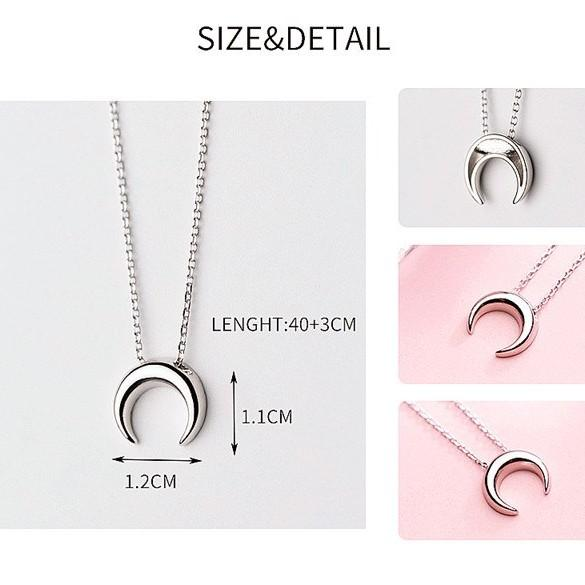 Sterling Silver Moon Pendant Necklace - 925 Real Silver Necklace - Classic Silver Necklace Lux & Rose