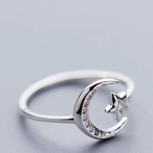 Sterling Silver Moon Star Opening Ring - 925 Real Silver Ring - Classic Silver Ring Lux & Rose