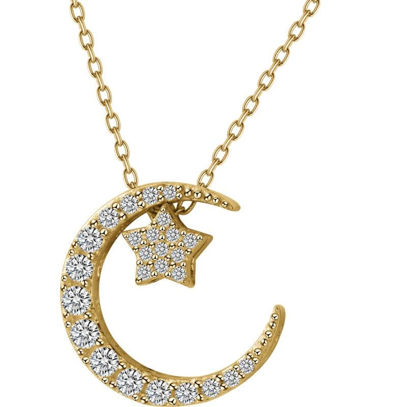 Sterling Silver Moon & Star Pendant Necklace - 925 Real Silver Necklace - Classic Silver Necklace Lux & Rose 1pcs Gold