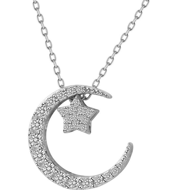 Sterling Silver Moon & Star Pendant Necklace - 925 Real Silver Necklace - Classic Silver Necklace Lux & Rose 1Pcs Silver
