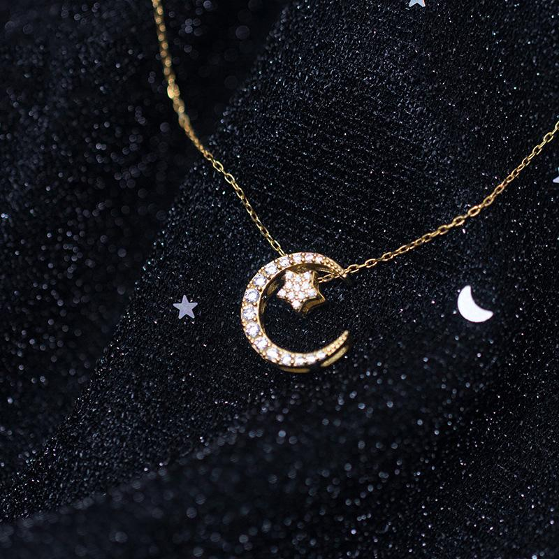 Sterling Silver Moon & Star Pendant Necklace - 925 Real Silver Necklace - Classic Silver Necklace Lux & Rose