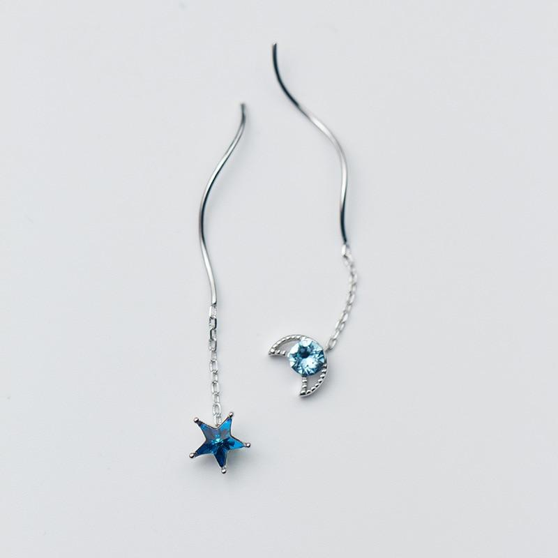 Sterling Silver Moon Star Pull Through Earrings - Long Threader Earrings - 925 Real Sterling Silver - Playful Silver Galaxy Universe Earrings Lux & Rose