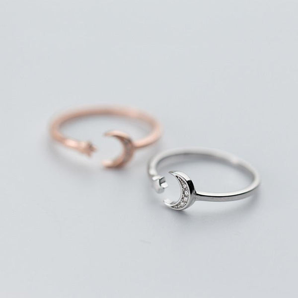 Sterling Silver Moon Star Wrap Ring - 925 Real Silver Crescent Moon Rings - Rose gold Plated Moon Ring - Adjustable Moon Wrap Ring Lux & Rose