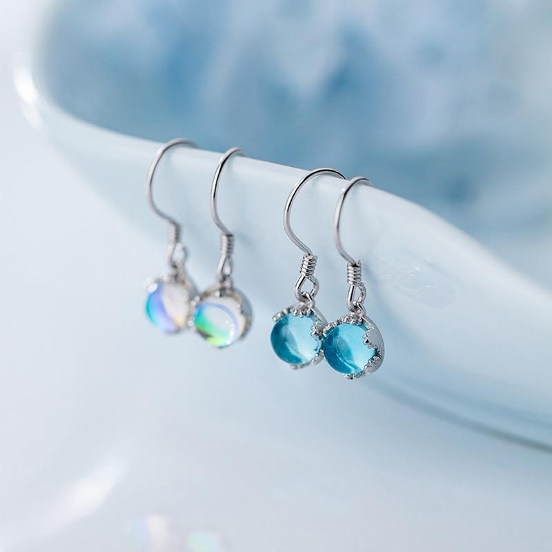 Sterling Silver Moonstone Earrings - Round Stone Dangle Earrings - 925 Real Silver Earrings - Playful Silver Earrings Lux & Rose