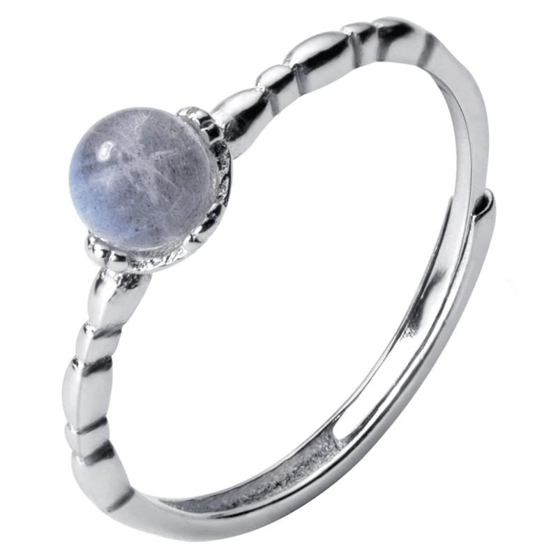 Sterling Silver Moonstone Solitaire Ring - 925 Real Silver Ring - Adjustable Silver Ring Lux & Rose
