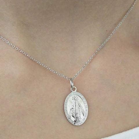 Sterling Silver Mother Maria Pendant Necklace - 925 Real Silver Necklace - Classic Silver Necklace Lux & Rose