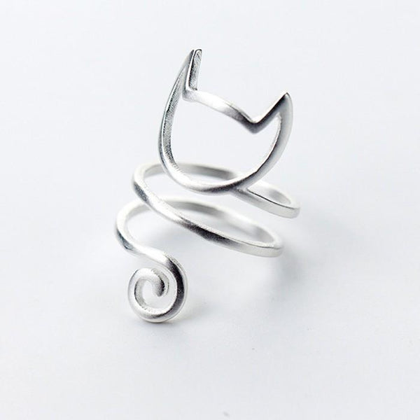 Sterling Silver Multilayer Cat Ring - 925 Real Silver Ring - Classic Silver Ring - Adjustable Cocktail Ring Lux & Rose