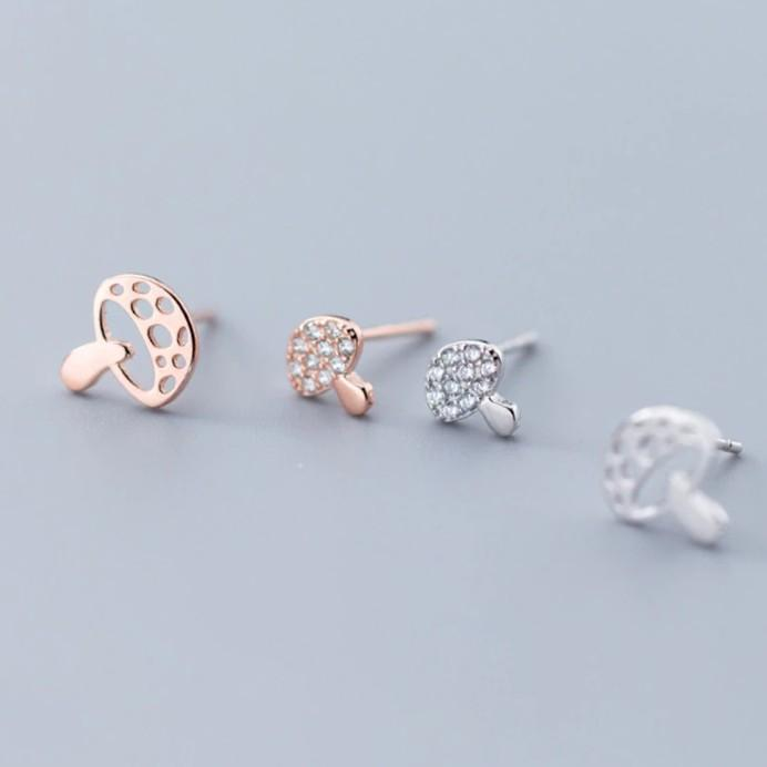 Sterling Silver Mushroom CZ Stud Earrings - 925 Stud Earrings - 925 Real Silver Earrings - Zircon Mushroom Earrings - Cubic Zirconia Earrings - Playful Silver Earrings Lux & Rose
