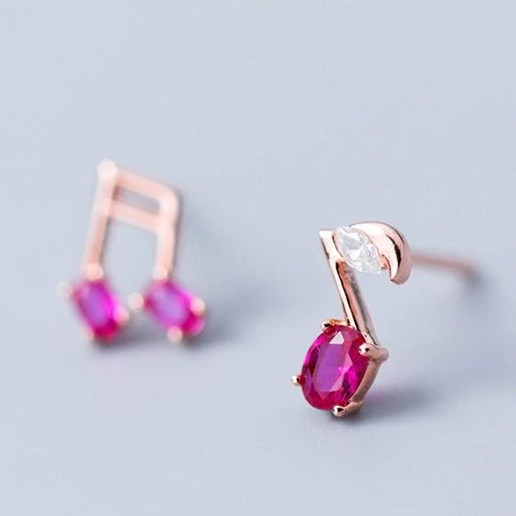 Sterling Silver Music Note Stud Earrings - 925 Real Asymmetrical Silver Earrings - Rose gold Plated pink Gemstone Music Studs Lux & Rose