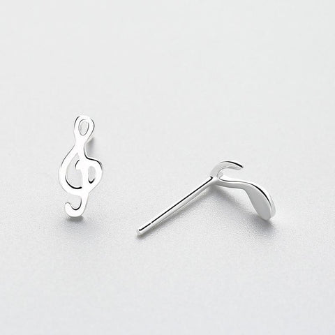 Sterling Silver Music Note Stud Earrings - Clef and Note Asymmetrical Stud Earrings - 925 Real Silver Earrings - Playful Silver Earrings Lux & Rose
