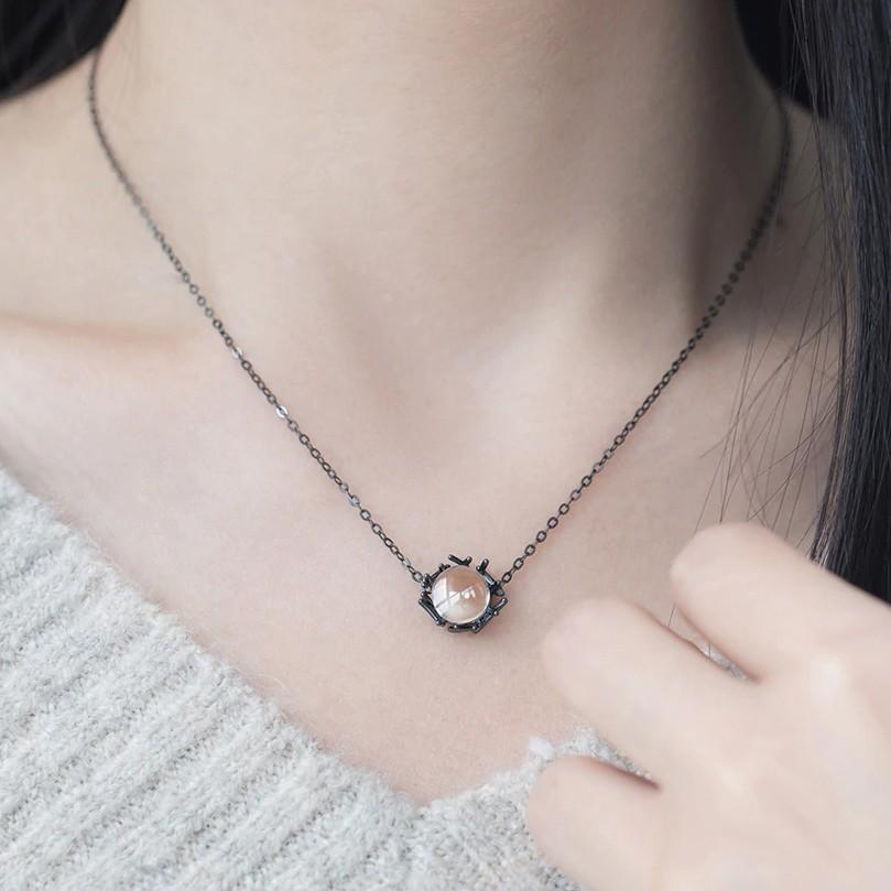 Sterling Silver Nest Type Gemstone Necklace - 925 Real Silver Necklace - Classic Silver Necklace - Black Chain Necklace Lux & Rose