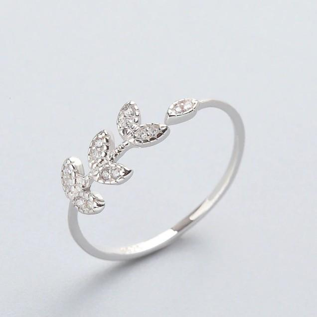 Sterling Silver Olive Zircon Leaves Ring - 925 Real Silver Ring - Classic Silver Ring - Adjustable Cocktail Ring Lux & Rose
