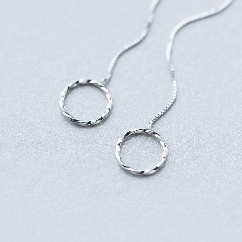 Sterling Silver Open Circle Threader Earrings - 925 Real Silver Earrings - Dangle Delicate Earrings - Chain Linked Earrings - Dangle Drop Stick Earrings Lux & Rose