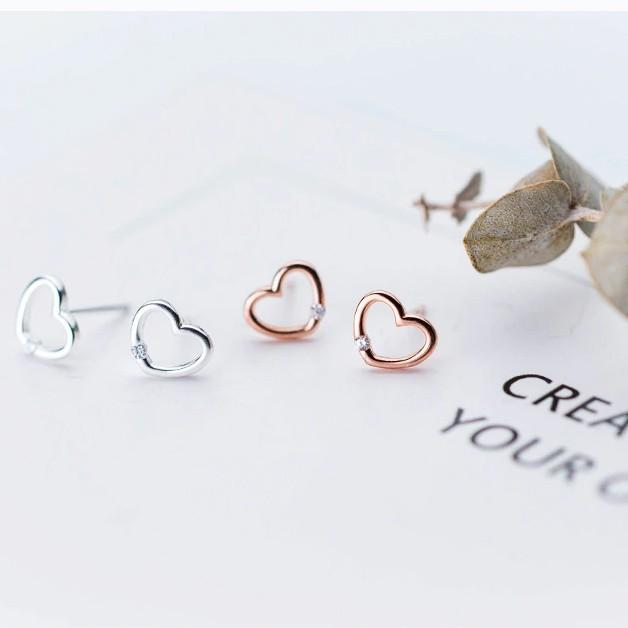Sterling Silver Open Heart Earrings - 925 Stud Earrings - 925 Real Silver Earrings - Playful Silver Earrings Lux & Rose