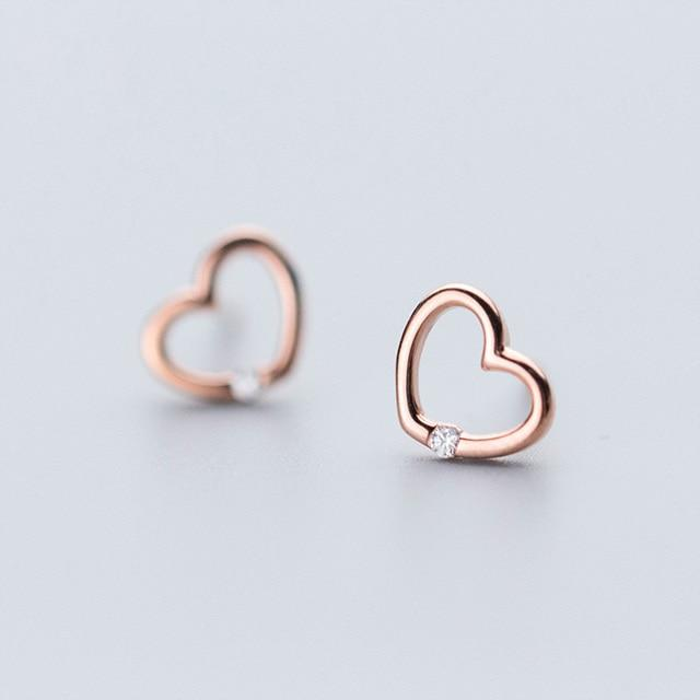 Sterling Silver Open Heart Earrings - 925 Stud Earrings - 925 Real Silver Earrings - Playful Silver Earrings Lux & Rose Rose