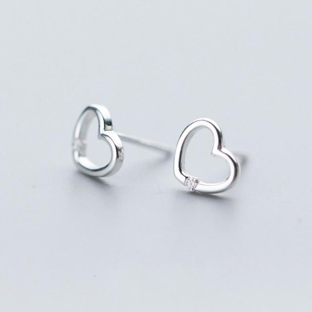 Sterling Silver Open Heart Earrings - 925 Stud Earrings - 925 Real Silver Earrings - Playful Silver Earrings Lux & Rose Silver