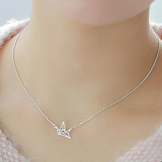 Sterling Silver Origami Bird Necklace - 925 Real Silver Bird Pendant Necklace - Classic Silver Necklace Lux & Rose