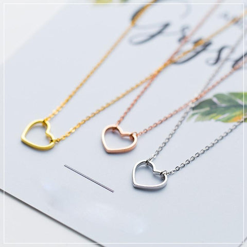 Sterling Silver Outline Heart Pendant Necklace - 925 Real Silver Necklace - Classic Silver Necklace Lux & Rose