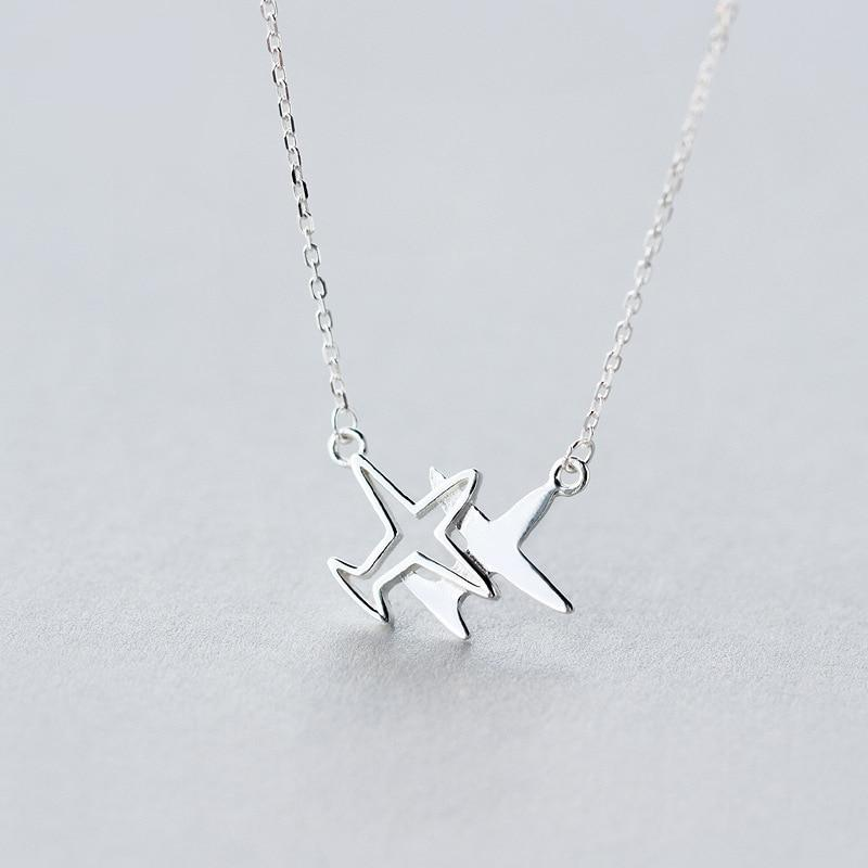 Sterling Silver Outline Plane Pendant Necklace - 925 Real Silver Necklace - Travel Necklace Lux & Rose