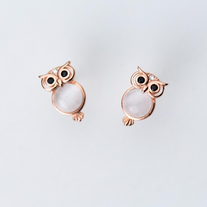 Sterling Silver Owl Stud Earrings - 925 Real Silver Earrings - Playful Silver Earrings Lux & Rose
