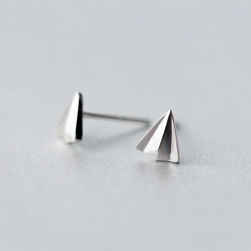 Sterling Silver Paper Airplane Stud Earrings - 925 Stud Earring - 925 Real Silver Earrings - Charming Silver Earrings Lux & Rose
