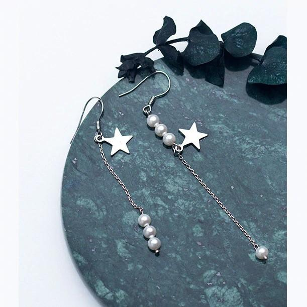 Sterling Silver Pearl Star Chain Earrings - 925 Stud Earrings - 925 Real Silver Earrings - Playful Silver Earrings Lux & Rose