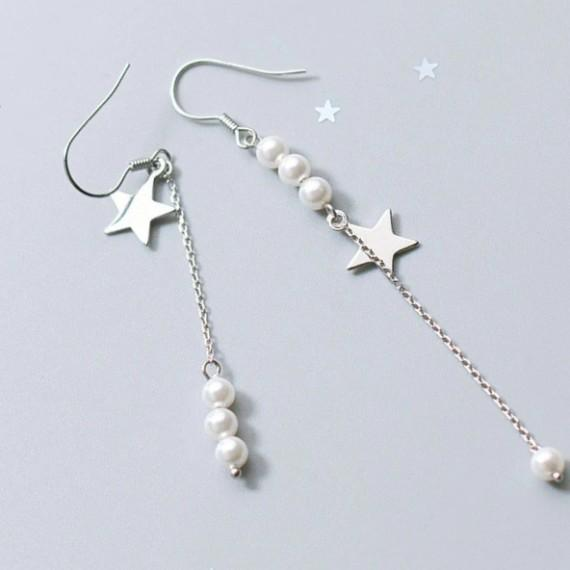 Sterling Silver Pearl Star Chain Earrings - 925 Stud Earrings - 925 Real Silver Earrings - Playful Silver Earrings Lux & Rose Default Title