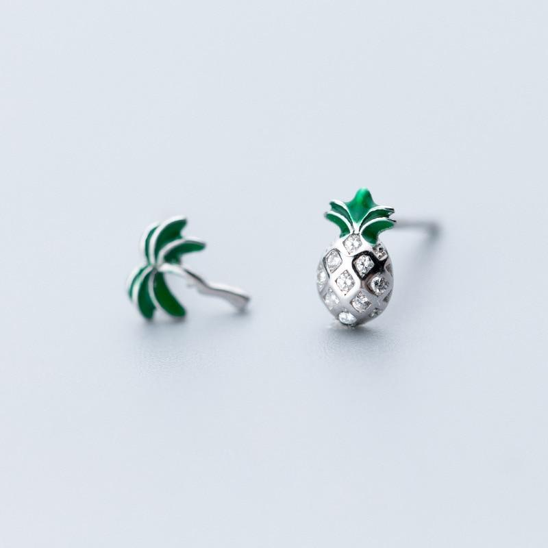 Sterling Silver Pineapple Coconut Tree Earrings - 925 Stud Earrings - 925 Real Silver Earrings - Playful Silver Earrings - Traditional Silver Earrings Lux & Rose